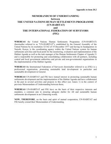 MEMORANDUM OF UNDERSTANDING between THE ... - FIG