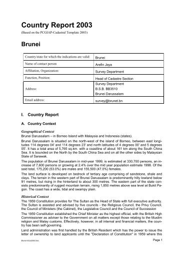 Country Report 2003 - Cadastral Template