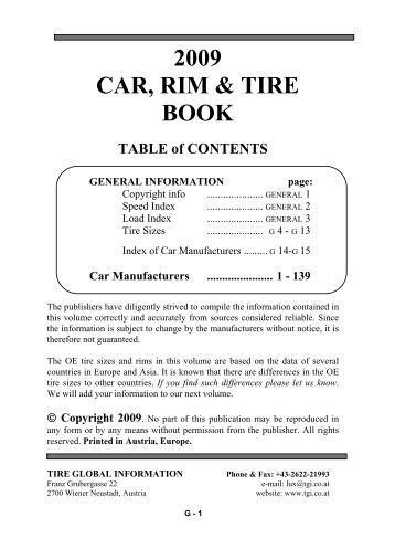 2009 CAR, RIM & TIRE BOOK