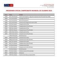 PROGRAMA OFICIAL CAMPEONATO MUNDIAL CIC GUARNE 2010