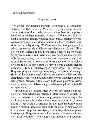 prof. dr hab. Tadeusz Szczepański, Bergman i radio