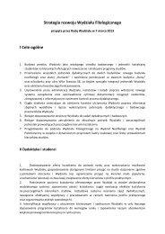 Strategia rozwoju Wydziału Filologicznego I Cele ogólne