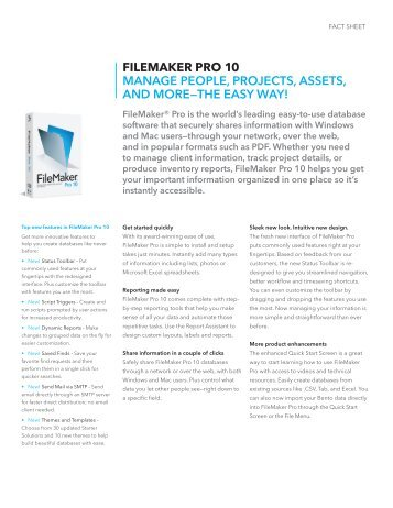 FILEMAKER PRO 10 ManaGe PeoPle, PRojecTS, aSSeTS, anD ...