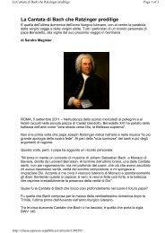 La Cantata di Bach che Ratzinger predilige