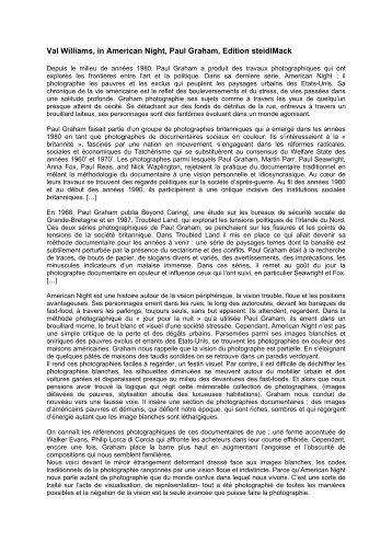 Texte de Val Williams - Galerie Les Filles du Calvaire