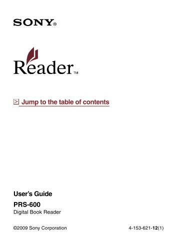 prs 600 user s guide jump to the table of contents sony rh yumpu com Sony Tablet Sony Reader Library