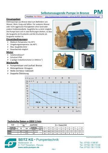 Technische Daten - Seitz KG - Pumpentechnik - T-Online