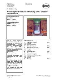 Anleitung für Einbau und Wartung GRAF Drossel- ablaufschacht