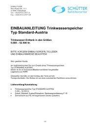 EINBAUANLEITUNG Trinkwasserspeicher Typ Standard-Austria
