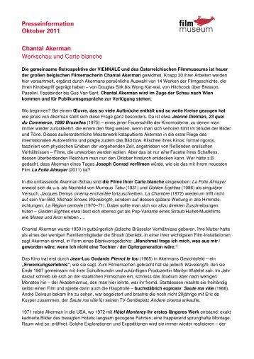 Filmmuseum Presseinformation Oktober 2011 - Österreichisches ...
