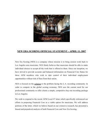 Read the Entire NES Response - Film Music Magazine