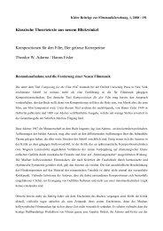 Kompositionen für den Film, Der getreue Korrepetitor. Theodor W ...