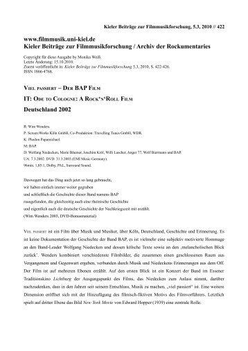 Kieler Beiträge zur Filmmusikforschung / Archiv der Rockumentaries