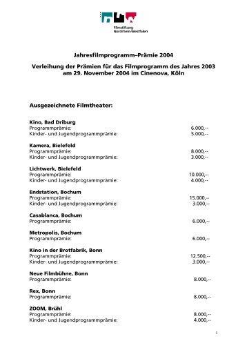 Prämierte Kinos Jahrefilmprogramm-Prämie 2001 in 2002