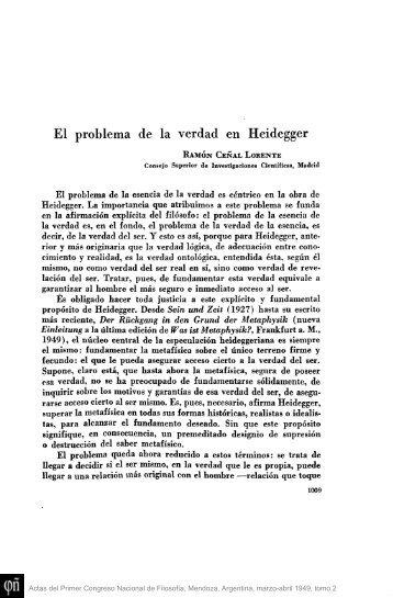 El problema de la verdad en Heidegger