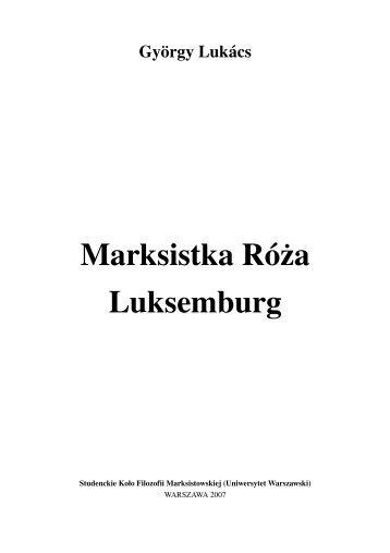 Marksistka Róża Luksemburg - Uniwersytet Warszawski