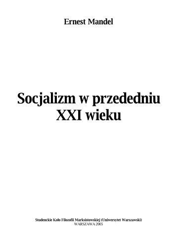 Socjalizm w przededniu XXI wieku - Uniwersytet Warszawski