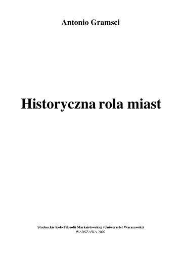Historyczna rola miast - Uniwersytet Warszawski