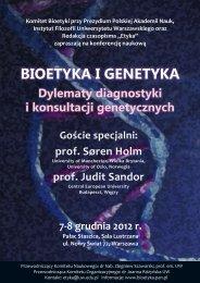 bioetyka i genetyka - Instytut Filozofii Uniwersytetu Warszawskiego ...