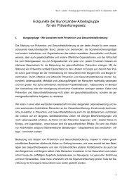 Eckpunkte der Bund-Länder-Arbeitsgruppe für ein Präventionsgesetz