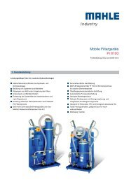 Mobile Filtergeräte Pi 8100 - MAHLE Industry - Filtration