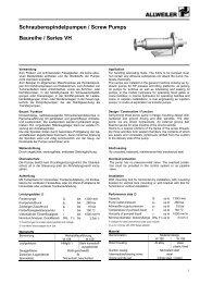 Schraubenspindelpumpen / Screw Pumps Baureihe / Series VH - Filter
