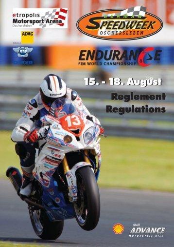 Reglement Regulations 15. - 18. August - FIM