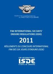 règlements du concours international fim des six jours d'enduro (isde