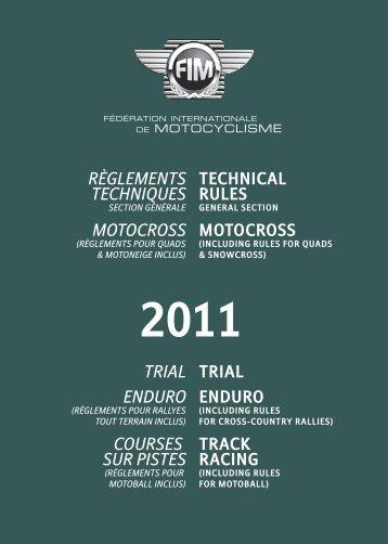 Règlements techniques Motocross FIM 2011