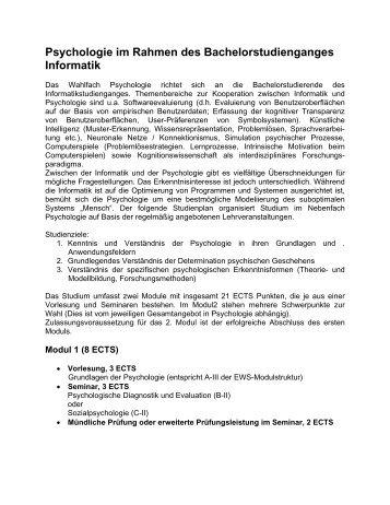 Wahlfach Psychologie im Rahmen des Bachelor Informatik