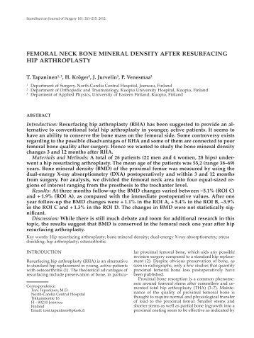 Femoral neck bone mineral density aFter resurFacing hip arthroplasty