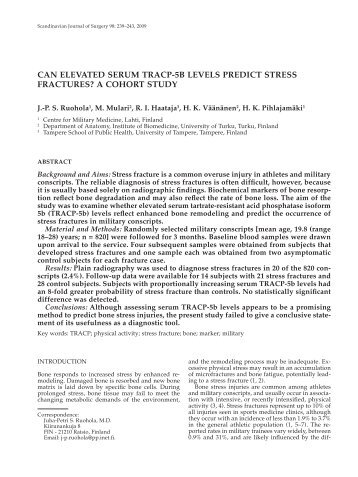 Can elevated serum traCP-5b levels PrediCt stress fraCtures? a ...