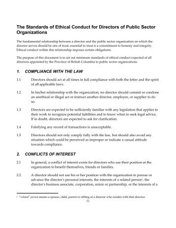 Conduct for Ethical Standards