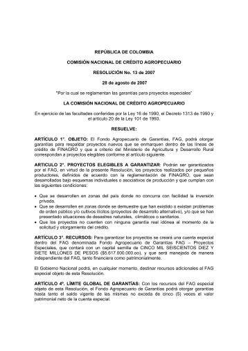 REPÚBLICA DE COLOMBIA COMISIÓN NACIONAL DE ... - Finagro
