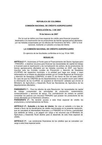 REPUBLICA DE COLOMBIA COMISIÓN NACIONAL DE ... - Finagro