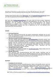 Krankenzusatzversicherung über Krankenkasse ... - Finance-Store.de