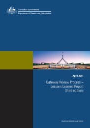 Gateway Review Process - Department of Finance and Deregulation