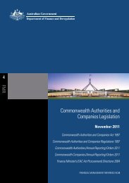 Commonwealth Authorities - Department of Finance and Deregulation
