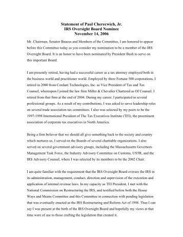 Statement of Paul Cherecwich, Jr. IRS Oversight Board Nominee ...