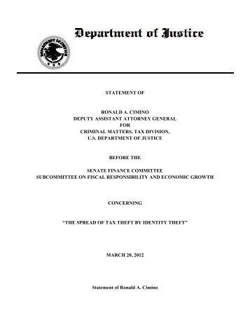 Statement of Ronald A. Cimino - Senate Finance Committee