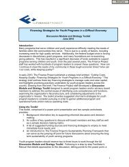 Financing Strategies for Youth Programs in a Difficult Economy