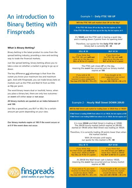 Finspreads financial spread betting betting on the spread