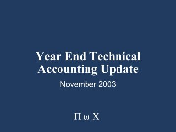 Year End Technical Accounting Update - Financial Executives ...