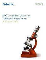 SEC Comment Letter on Domestic Registrants — A Closer Look ...