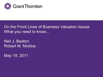 On the Front Lines of Business Valuation Issues What you need to ...
