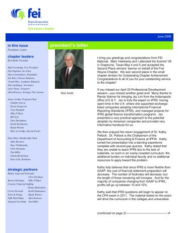 FWA June 2009 Newsletter - Financial Executives International