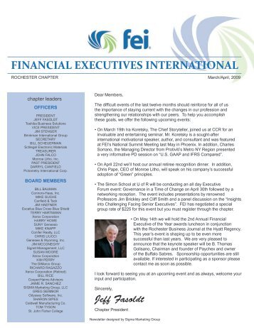 April 2009 Newsletter - Financial Executives International