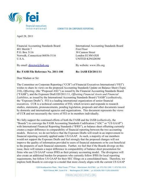 FEI CCR Balance Sheet Offsetting Comment Letter - Financial ...
