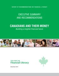 30 recommendations - the Task Force on Financial Literacy