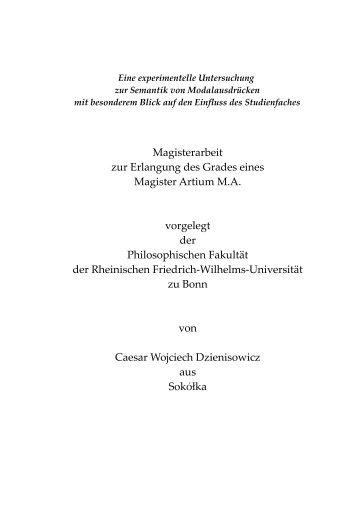 Magisterar eit zur Erlangung des Grades eines ... - Universität Bonn